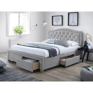 Čalouněná postel ELECTRA 140 x 200 cm barva šedá / dub