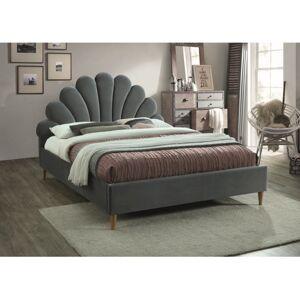 Čalouněná postel SANTANA VELVET 160 x 200 cm barva šedá / dub