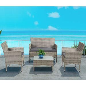 """Polyratanový zahradní nábytek """"Fort Myers"""" šedý a tmavošedé sedáky"""