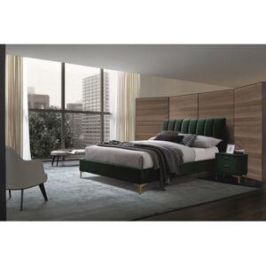Čalouněná postel MIRAGE VELVET 160 x 200 cm barva zelený / zlatá