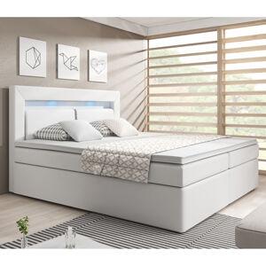 """Postel ,,New Jersey"""" 140 x 200 cm s pružinovou matrací a úložným prostorem, bílá"""