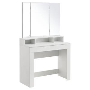 Toaletní stolek Marla s trojitým zrcadlem v bílé barvě bez židle